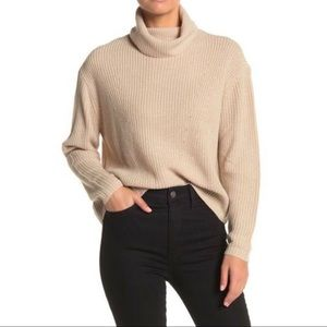 Sanctuary Ribbed Cowl Neck Beige Sweater Size M